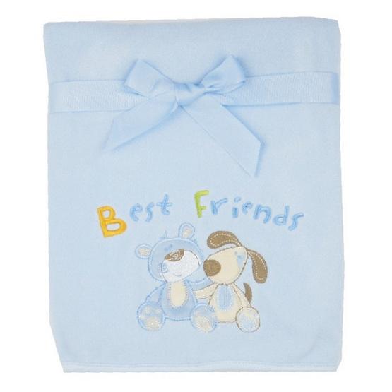 Luvable Friends ผ้าห่ม Fleece ลายหมี/สุนัข สีฟ้า