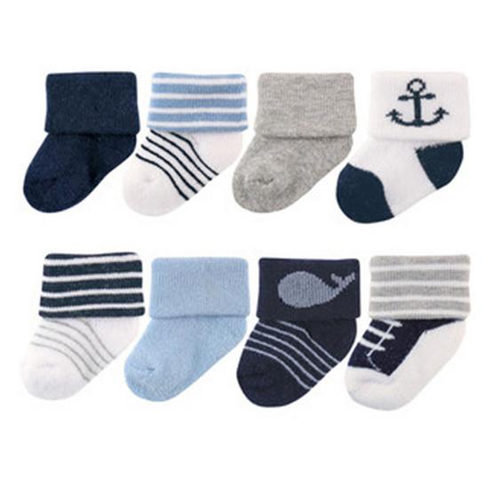 Luvable Friends ถุงเท้า Newborn แพ็ค 8 คู่ ลายปลาวาฬ สีน้ำเงิน