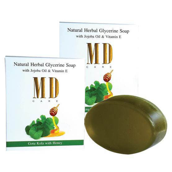 MD Care สบู่กลีเซอรีนผสมสมุนไพรธรรมชาติสูตรใบบัวบกผสมน้ำผึ้งน้ำหนักก้อนละ 90 กรัม (แพ็ค 2 ก้อน)