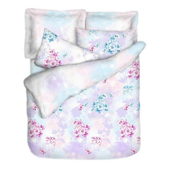 MD Home ชุดผ้าปู 6 ฟุต 5 ชิ้น+ผ้านวมเตียงคู่ 100x90 นิ้ว  รุ่น Micro SofTex ลาย Hana-Blossom