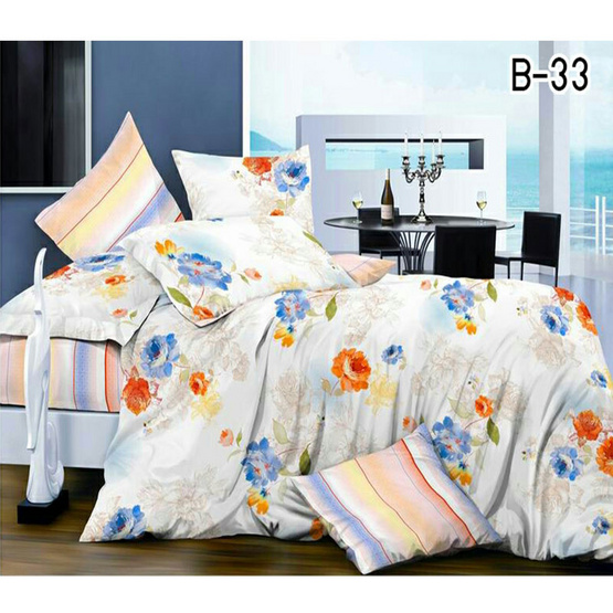 MD Home ชุดผ้าปูที่นอนเตียงคู่ 6 ฟุต 5 ชิ้น รุ่น Micro SofTex ลาย Hana-Rose