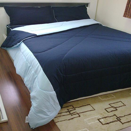 MD Home ชุดผ้าปูที่นอน 6 ฟุต 5 ชิ้น+ผ้าห่มนวมเตียงคู่ รุ่น Two-Tone สีน้ำเงิน+สีฟ้าอ่อน