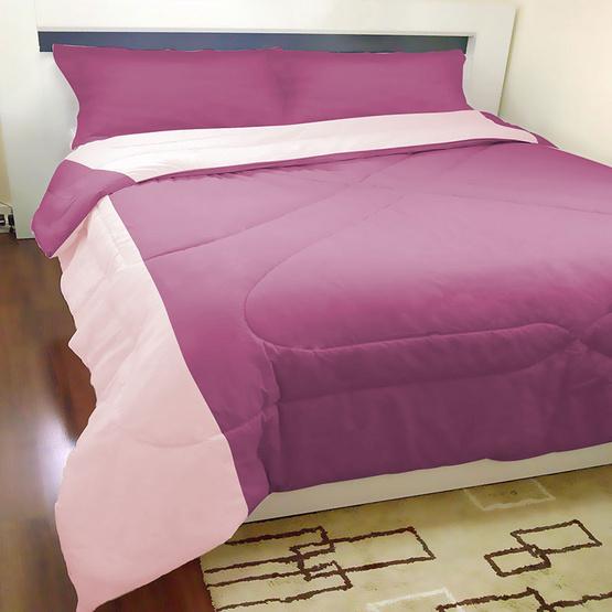 MD Home ชุดผ้าปูที่นอน 6 ฟุต 5 ชิ้น+ผ้าห่มนวมเตียงคู่ รุ่น Two-Tone สีม่วงเข้ม+สีชมพูอ่อน
