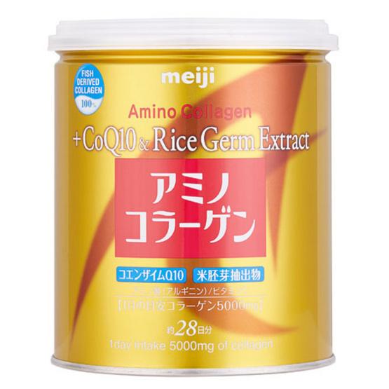 Meiji Amino Collagen + CoQ10 & Rice Germ Extract คอลลาเจนผงจากญี่ปุ่น 5000 มก.บรรจุ 200 ก.