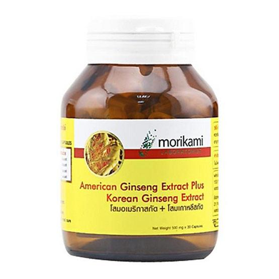 Morikami ซื้อ 1 แถม 1 American Ginseng Extract Plus Korean Ginseng Extract 500 mg. บรรจุ 30 แคปซูล