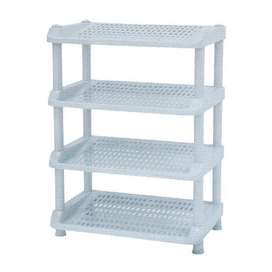 OA Furniture ชั้นวางรองเท้าพลาสติก 4 ชั้น No.251/4 - Blue Gray