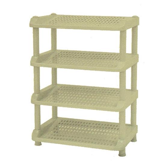 OA Furniture ชั้นวางรองเท้าพลาสติก 4 ชั้น No.251/4 - Cream