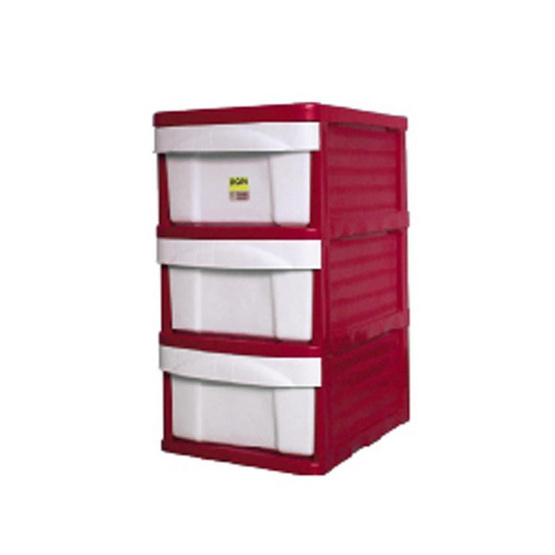 OA Furniture ตู้ลิ้นชักพลาสติก LION 3 ชั้น สีแดง