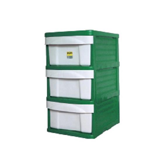 OA Furniture ตู้ลิ้นชักพลาสติก LION 3 ชั้น สีเขียว