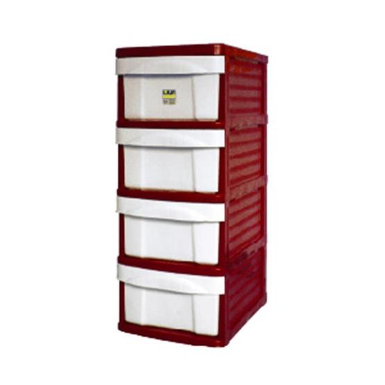 OA Furniture ตู้ลิ้นชักพลาสติก LION 4 ชั้น สีแดง