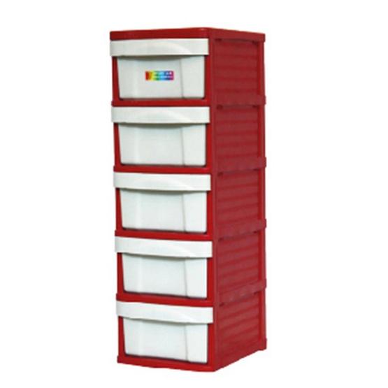 OA Furniture ตู้ลิ้นชักพลาสติก LION 5 ชั้น สีแดง