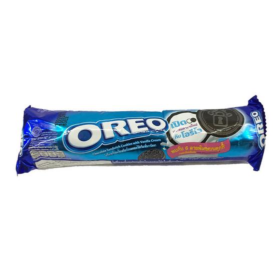 Oreo โอริโอ คุกกี้แซนวิชรสช็อกโกแลต สอดไส้ครีมวานิลลา ขนาด 137 g. (6 ชิ้น)