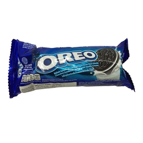 Oreo โอริโอ คุกกี้แซนวิชรสช็อกโกแลต สอดไส้ครีมวานิลลา ขนาด 68.50 g. (12 ชิ้น)