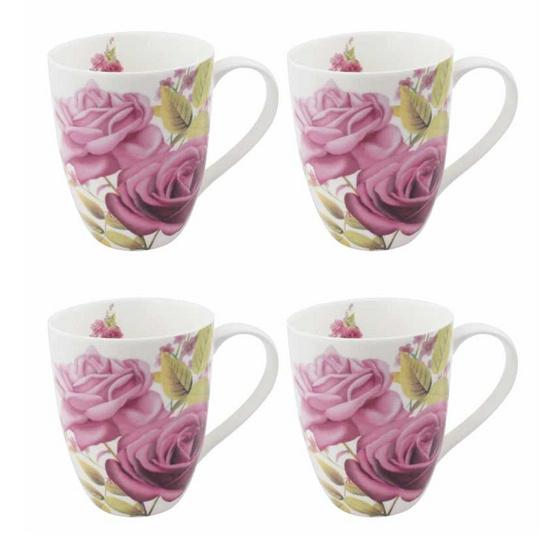 ซื้อ RRS แก้วเซรามิก ลายดอกกุหลาบสุดหรู 4 ใบ/ชุด