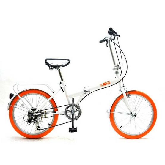 Raychelll จักรยานพับได้ นำเข้าจากญี่ปุ่น รุ่น MF 206 RR (สีขาวยางส้ม)