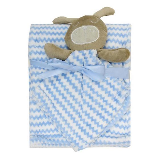 Rock a Bye baby ผ้าห่ม ผ้ากอดหัวตุ๊กตาสัตว์ ลายกระต่ายฟ้า
