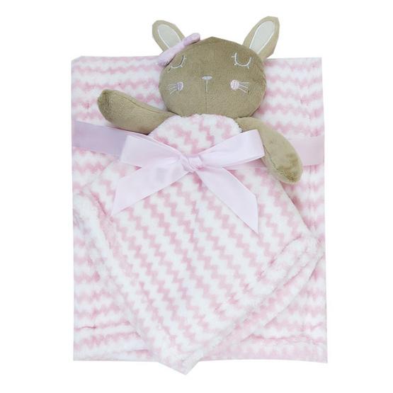 Rock a bye baby ผ้าห่ม+ผ้ากอดหัวตุ๊กตาสัตว์กระต่ายสีชมพู