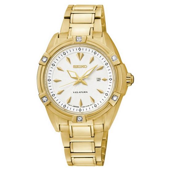 SEIKO นาฬิกาข้อมือ Velatura Diamond Lady Gold รุ่น SXDF52P1