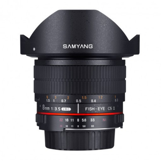 Samyang Lens 8mm fisheye / F3.5 Nikon AE CSII (Hood Detachable)