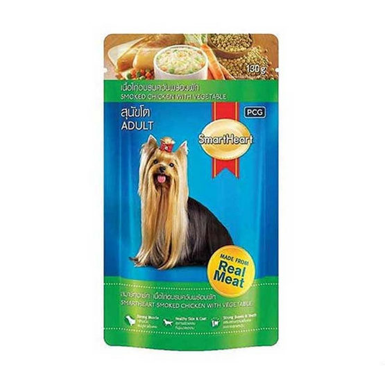 Smart Heart อาหารเปียกสุนัข รสไก่รมควันและผัก ขนาด 130 ก. (12 ถุง)