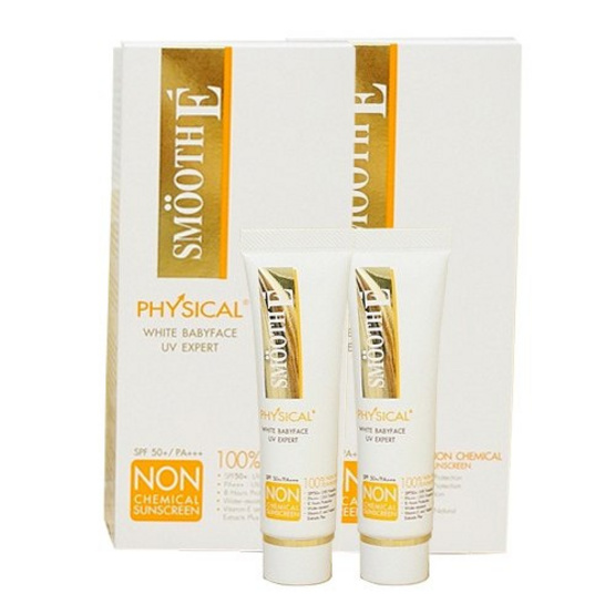 Smooth E Physical White Sunscreen SPF50+ PA++++ 15g Pack 2Pcs