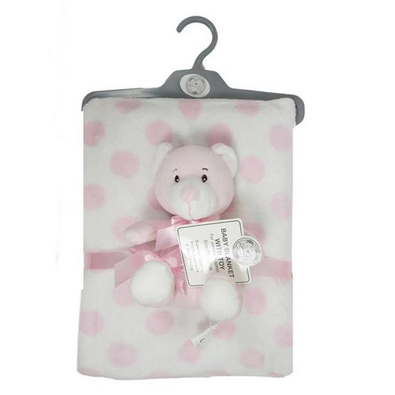 Snuggle BaBy ผ้าห่มลายจุดชมพู ตุ๊กตาหมีสีชมพู