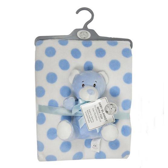 Snuggle BaBy ผ้าห่มลายจุดฟ้า ตุ๊กตาหมีสีฟ้า