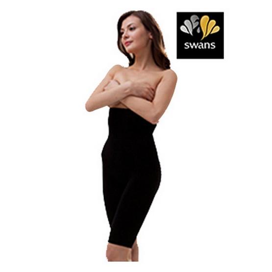 Swans กางเกงเอวสูงกระชับสัดส่วน-ดำ L/XL