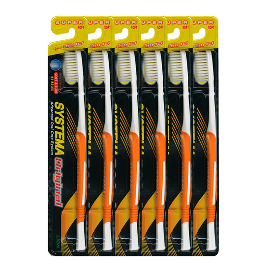 Systema Toothbrush Original Pack6 #รุ่นหัวแปรงขนาดกลาง ขนแปรงนุ่มพิเศษ (คละสี)