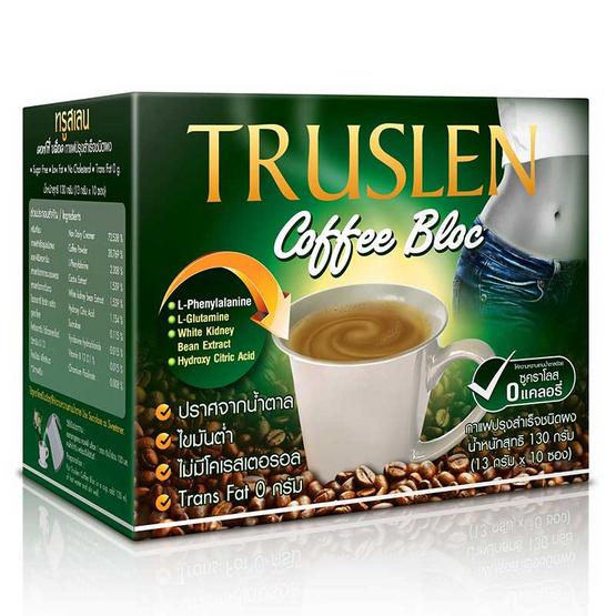 TRUSLEN COFFEE BLOC กาแฟเพื่อสุขภาพ เพิ่มสารสกัดจากถั่วขาว ขนาด 130 กรัม บรรจุ 10 ซอง
