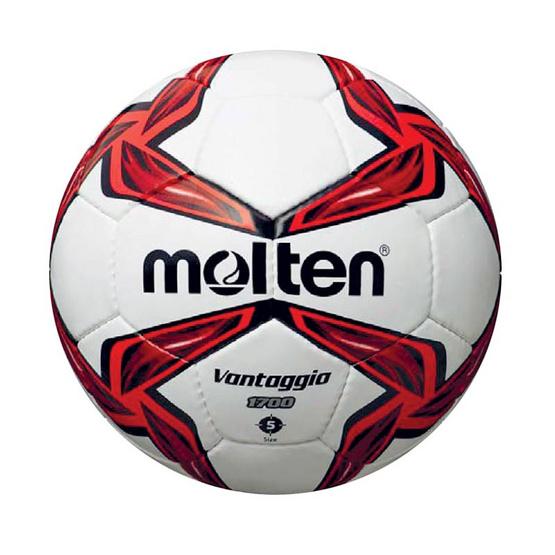 Thai Sports ฟุตบอล Molten หนังพีวีซี (PVC) เย็บด้วยมือ ขนาดและน้ำหนักมาตรฐาน เบอร์ 5 สีขาว/แดง/ดำ รหัสสินค้า B2AF5V1700R
