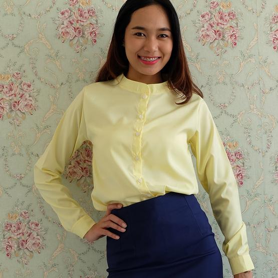 The Bow เสื้อเชิ้ตคอจีน ผ้าไหมอิตาลี สีเหลือง