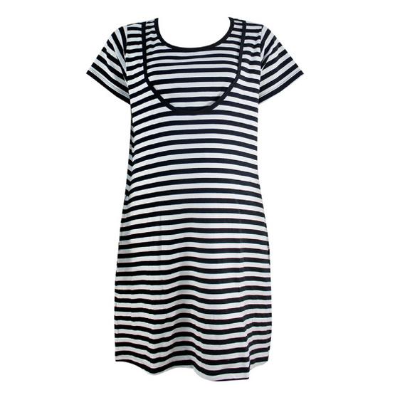 Threeangels Matrenity Dress AT15-366T-BLACK/WHITE-L