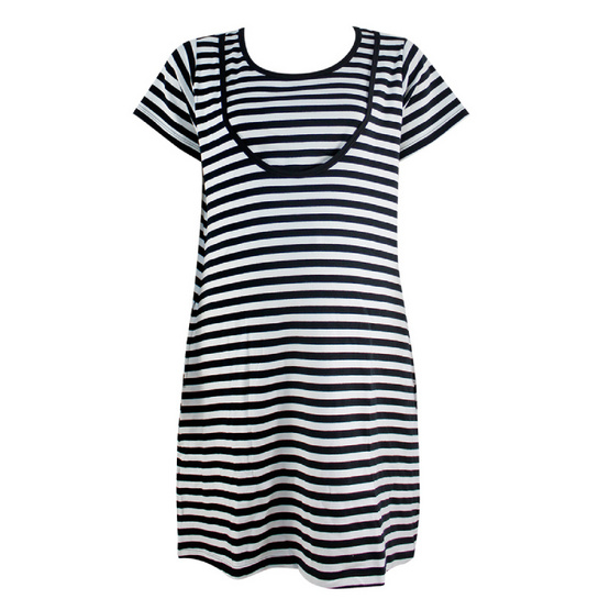 Threeangels Matrenity Dress AT15-366T-BLACK/WHITE-XL