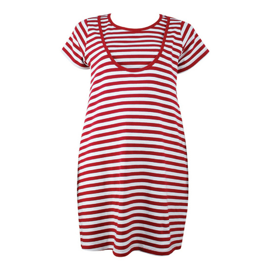 Threeangels Matrenity Dress AT15-366T-RED/WHITE-XL