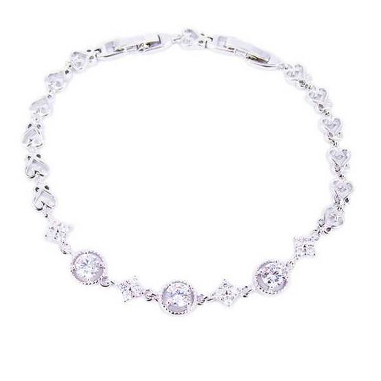 Tips Gallery สร้อยข้อมือเพชรรัสเซีย 1.25 กะรัต หุ้มทองคำขาวแท้ 18 K เงิน 925 รุ่น Celeste Solitaire Love Floral Design TES061