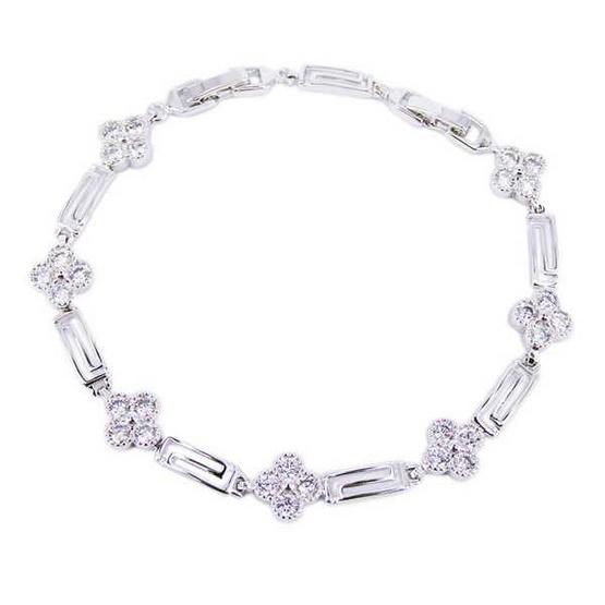 Tips Gallery สร้อยข้อมือเพชรรัสเซีย 2.8 กะรัต หุ้มทองคำขาวแท้ 18 K เงิน 925 รุ่น Le M?di?val Floral Greek Design TES059