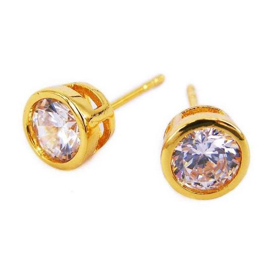 Tips Gallery ต่างหูเงิน925 หุ้มทองคำแท้24K เพชรรัสเซีย 0.75 กะรัต รุ่น Diamond Solitaire Design TES145