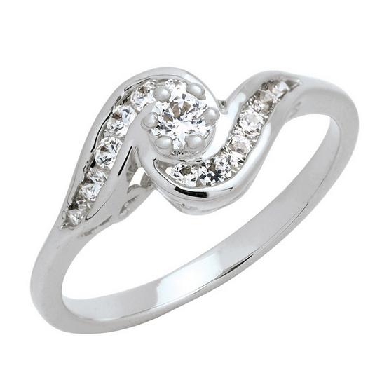 Trendy Diamond แหวนก้นหอย หุ้มทองคำขาว