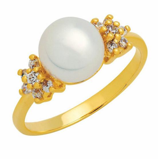 Trendy Diamond แหวนมุกประดับพิกุล หุ้มทองแท้