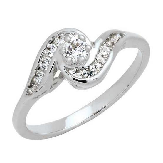 Trendy Diamond แหวนก้นหอย หุ้มทองคำขาว ไซส์ 54