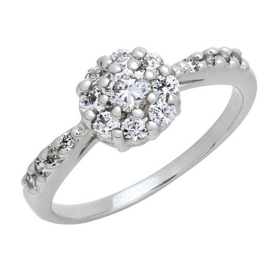 Trendy Diamond แหวน Lotus หุ้มทองคำขาว