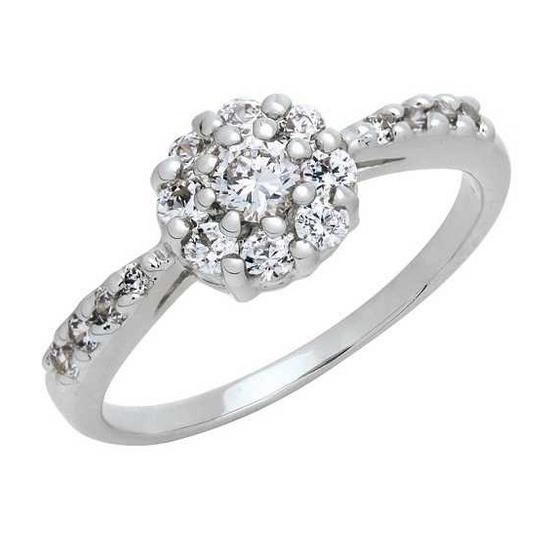 Trendy Diamond แหวน Lotus หุ้มทองคำขาว ไซส์ 56