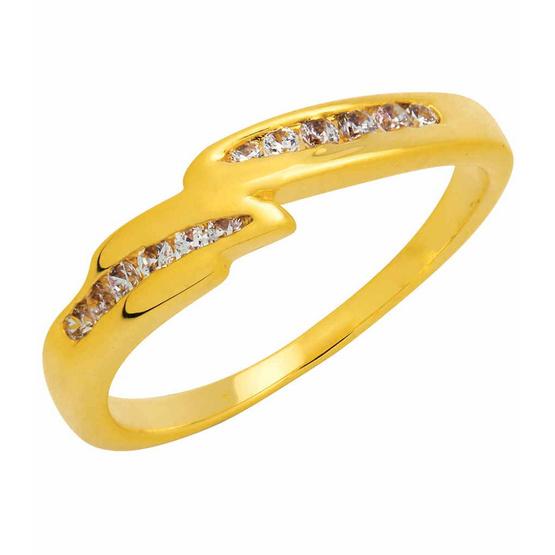 Trendy Diamond แหวนเวฟแบนด์ หุ้มทองแท้ Size 56