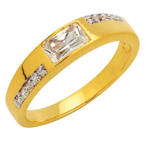 Trendy Diamond แหวนSquare Cut หุ้มทองแท้ ไซส์ 50
