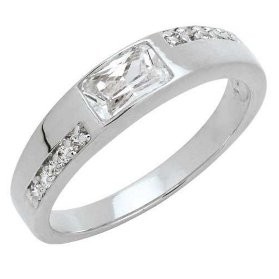 Trendy Diamond แหวน Square Cut หุ้มทองคำขาว ไซส์ 54