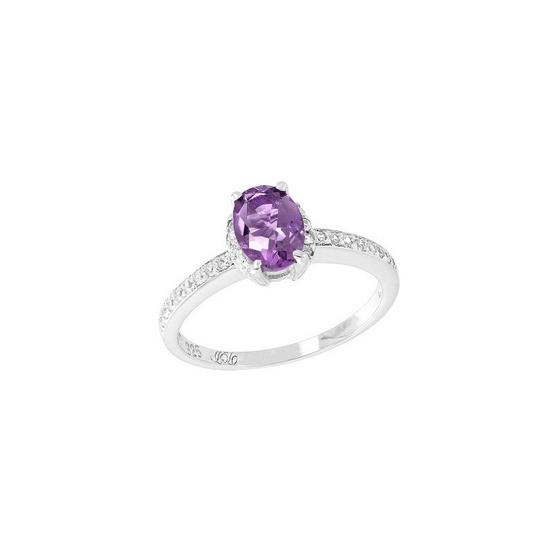 Trendy Diamond แหวนพลอยอเมทิสต์สีม่วง รุ่น TSR156-AM ฟรี Trendy Diamond ต่างหูมุก