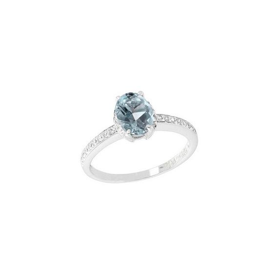 Trendy Diamond แหวนพลอยบลูโทพาซสีฟ้า รุ่น TSR156-BT ฟรี Trendy Diamond ต่างหูมุก