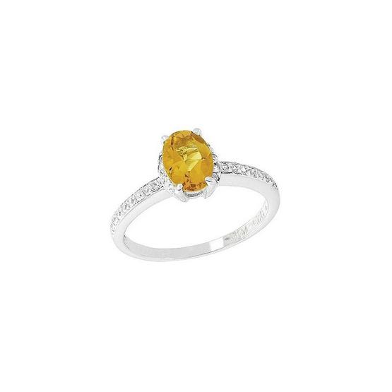 Trendy Diamond แหวนพลอยซิทรินสีเหลือง รุ่น TSR156-CT ฟรี Trendy Diamond ต่างหูมุก