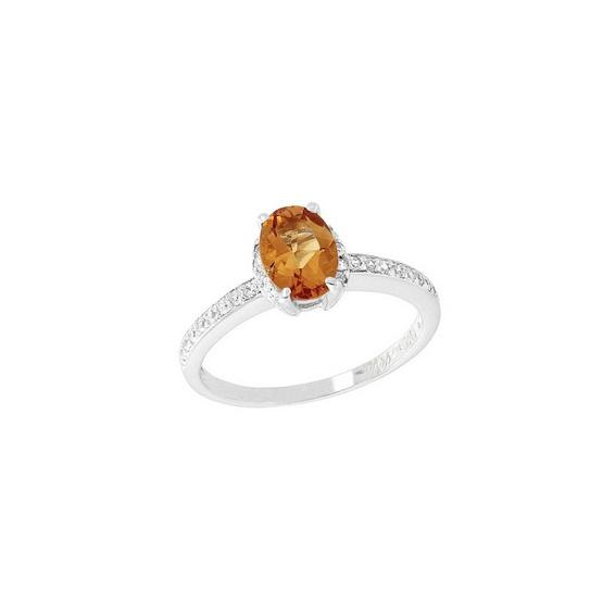 Trendy Diamond แหวนยอดพลอยซิทรินสีส้ม รุ่น TSR156-OC ฟรี Trendy Diamond ต่างหูมุก